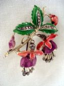 1960's Cold Enamel Fuschia Brooch with Marcasite Stones signed Exquisite(SOLD)
